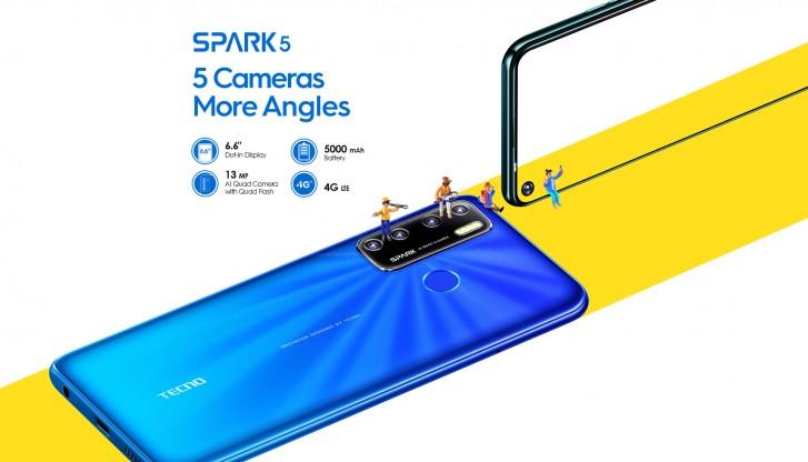 Le Tecno Spark 5 offre un écran de 6,6″avec perforation